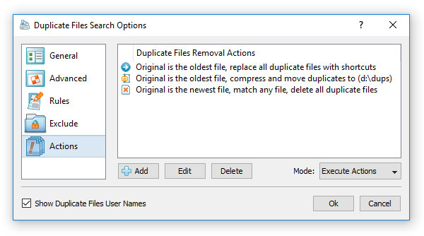 Duplicate Files Removal Actions