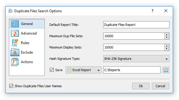 Duplicate Files Search Options
