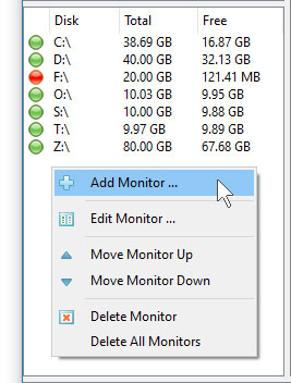 DupScout Server Add Disk Space Monitor